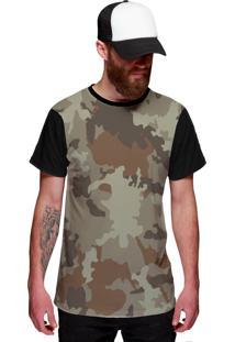Camiseta Di Nuevo Neutra Camuflada Preta