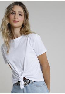 Blusa Feminina Básica Com Nó Manga Curta Decote Redondo Branca