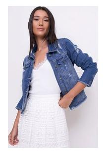 Jaqueta Básica Em Jeans