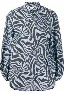 Ganni Blusa Com Estampa De Zebra - Azul