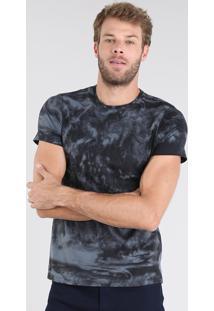 Camiseta Masculina Estampada Tie Dye Manga Curta Gola Careca Preta