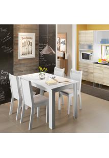 Conjunto De Mesa De Jantar Com 4 Cadeiras Rosie Lll Linho Branco E Bege