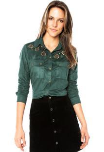 Camisa Manga Longa Carmim Recortes Vazados Verde