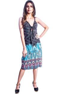 Vestido Carbella Decote Laço Colorido Estampado Preto/Azul