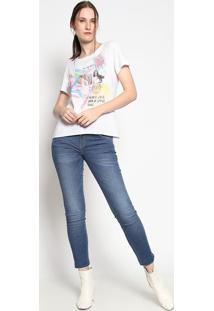 """Camiseta """"Bloco Da Alegria""""- Off White & Amarela- Cococa-Cola"""