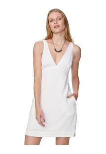 Vestido Curto Decote V Linho Branco