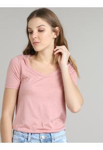 Blusa Feminina Básica Manga Curta Decote Redondo Rosê
