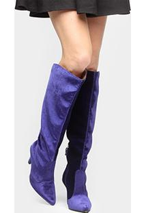 Bota Vizzano Over Knee Bico Fino Veludo - Feminino-Azul