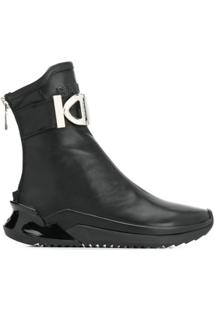 Balmain Ankle Boot Com Placa De Logo - Preto