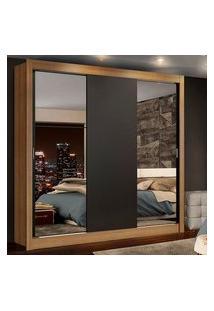 Guarda-Roupa Casal Madesa Lyon Plus 3 Portas De Correr Com Espelhos 4 Gavetas Rustic/Preto Preto