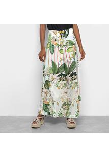Calça Farm Pantalona Floralu Feminina - Feminino-Off White