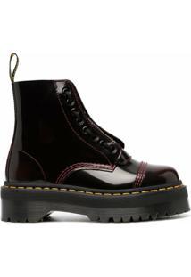 Dr. Martens Ankle Boot Com Cadarço - Vermelho