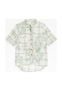 Camisa Manga Curta Em Viscose Com Estampa Grid E Folhagem | Marfinno | Branco | G