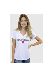 Camiseta Suffix Blusa Branca Sem Estampa Basica Gola V Estampa California Coração Pink