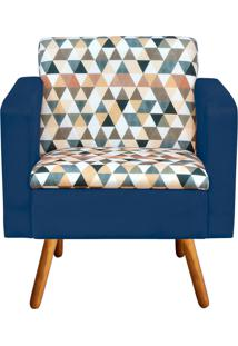 Poltrona Decorativa Emília Estampado Triangulo D87 Com Suede Azul Marinho - D'Rossi
