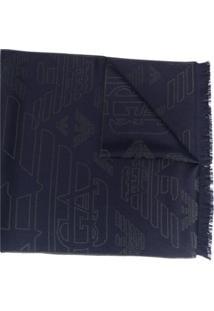 Emporio Armani Echarpe Com Bordado De Logo - Azul