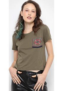 Camiseta Drezzup Bolso Estampado Feminina - Feminino-Verde Militar