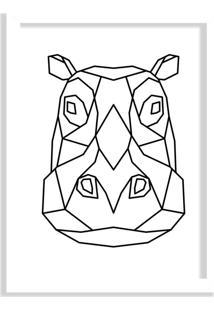 Quadro Decorativo Line Drawing Hipopótamo Branco - Grande