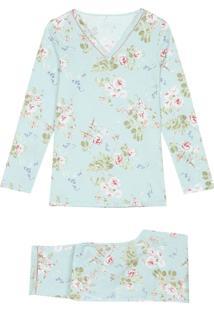 Pijama Comprido Em Algodão Supima Delicate Flowers Intimissimi Algodão Supima Azul