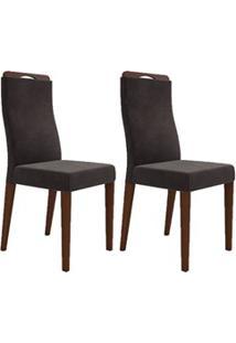 Kit 2 Cadeiras Para Sala De Jantar Luciana D08 Suede Marrom - Mpozenat