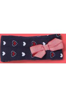 Faixa De Cabelo Com Laã§O - Azul Escuro & Vermelhapuket
