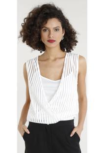 Body Feminino Blusê Com Sobreposição Listrado Decote V Branco