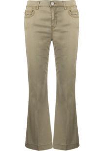 Pinko Calça Jeans Flare Cropped - Verde