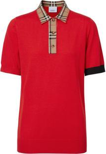 Burberry Vintage Check Trim Polo Shirt - Vermelho
