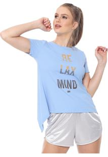 Camiseta Alto Giro Tule Recorte Azul
