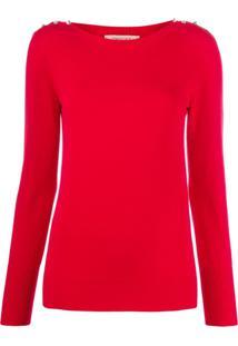Twin-Set Suéter De Tricô Com Cristais - Vermelho