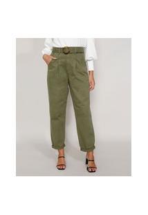 Calça De Sarja Feminina Baggy Cintura Super Alta Com Cinto Tartaruga Verde Militar
