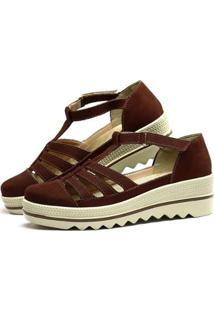 Sandália Plataforma Em Couro Sapatofran Com Velcro Feminina - Feminino-Vinho