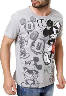 Camiseta Manga Curta Masculina Disney Cinza