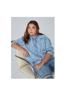 Jaqueta Feminina Reta Em Jeans De Algodão E Elastano - Azul