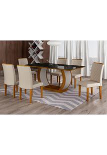 Conjunto De Mesa De Jantar Com 6 Cadeiras Maia Ii Veludo Imbuia E Creme