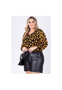 Blusa Poá Almaria Plus Size Rery Punho Lastex Amarelo