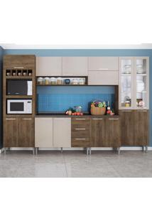 Cozinha Compacta 15 Portas Rafaela 0423T Demolição/Mel 3D - Genialflex