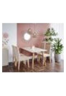 Conjunto De Mesa De Jantar Adele Com Tampo De Vidro Off White E 4 Cadeiras Estofadas Nicole Suede Nude E Madeira