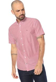 Camisa Tommy Hilfiger Reta Stripe Poplin Branca/Vermelha