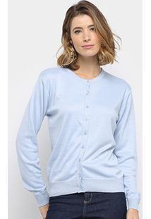 Cardigan Facinelli Tricot Básico Feminino - Feminino-Azul Claro