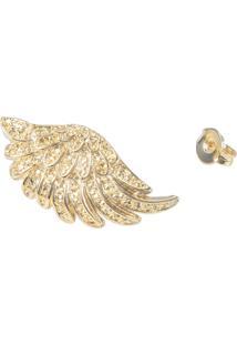 Brinco Fashionarium Asa Dourado Luxo Folheado Ouro 18K