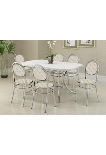 Mesa 1507 Branca Cromada Com 6 Cadeiras 190 Retrô Metalizado Carraro