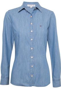 Camisa Dudalina Tradicional Manga Longa Jeans Essentials Feminina (Jeans Claro, 34)