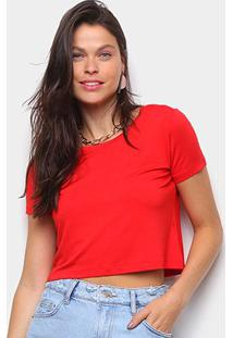 Camiseta Volare Cropped Básica Feminina - Feminino-Vermelho