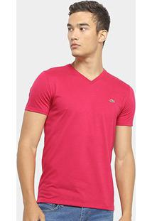 Camiseta Lacoste Gola V Regular Fit Masculina - Masculino-Rosa