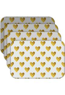 Jogo Americano Love Decor Wevans Corações Yellow Kit Com 4 Pçs.