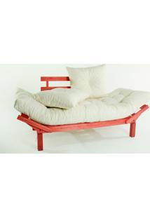 Sofá Cama Madeira Futon Country Comfort Acab. Stain Vermelho Com Almofada/Colchao Tecido T01 Acquablock - 190X80X83 Cm