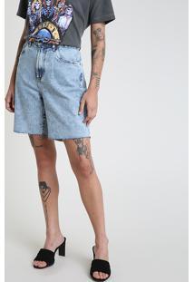 Bermuda Jeans Feminina Mindset Cintura Super Alta Com Barra A Fio Azul Claro