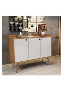 Aparador Buffet Retrô 3 Portas Wood - Nature / Off White - Rpm Móveis