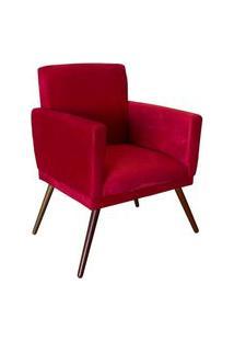 Poltrona Decorativa Nina Rodapé Suede Vermelho - Ds Móveis